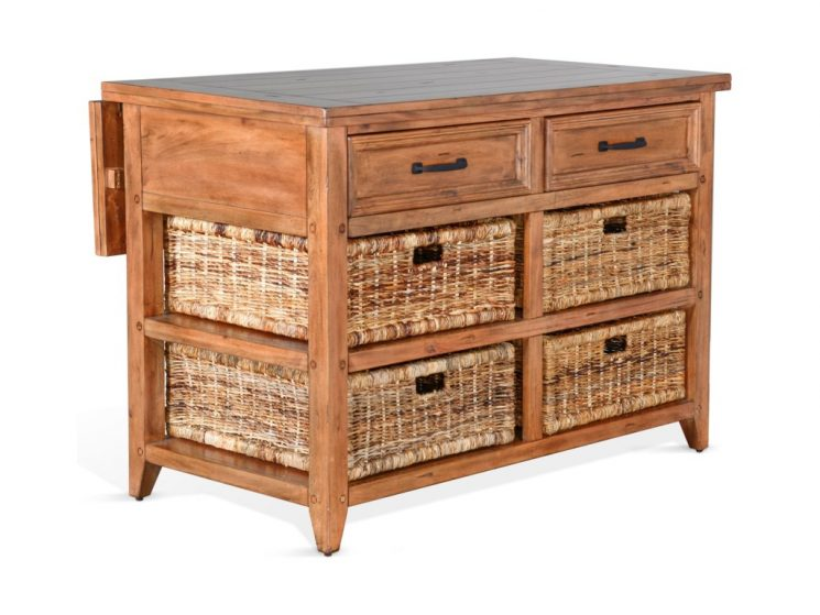 Drop Leaf Kitchen Island | Solid Wood Kitchen Cart | Movable Kitchen Island With Drop Leaf