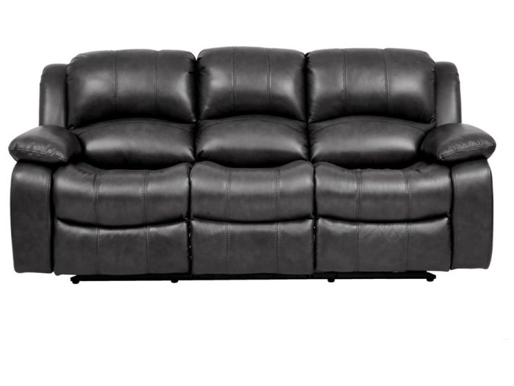 Marzia Leather Sofa With 2 Power Recliners | Black Leather Reclining Sofa Set | Leather Recliner Sofa